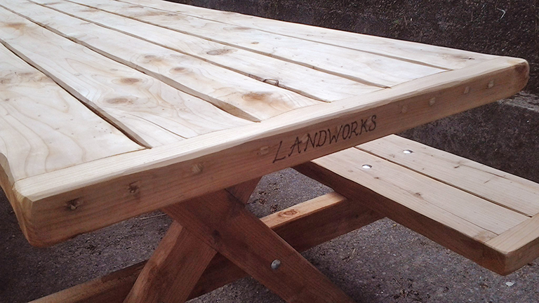 LandWorks redwood bench