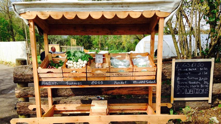 The new LandWorks fruit and veg stall: powered by honesty