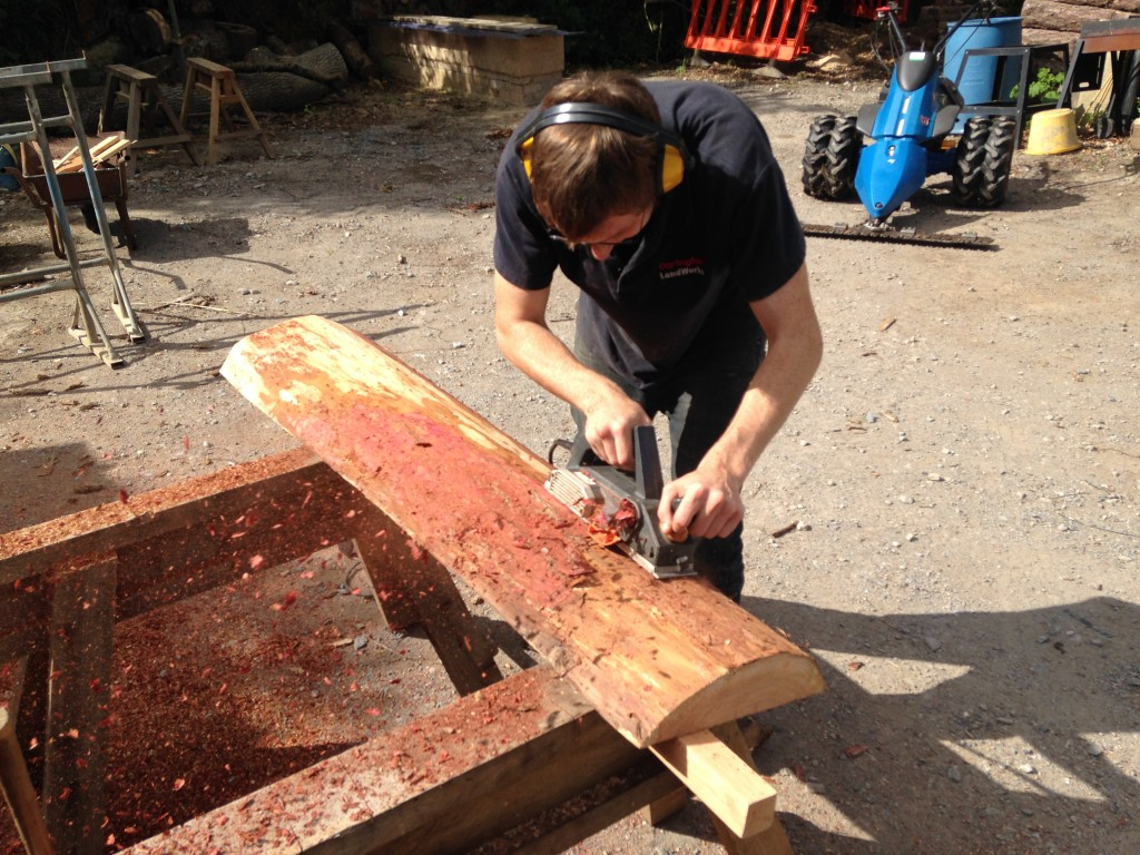 Trainee Joe woodworking at LandWorks